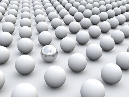sphere standing: 3D concept rendering depicting individualism and uniqueness, one standing out of the grey crowd as silver sphere Stock Photo