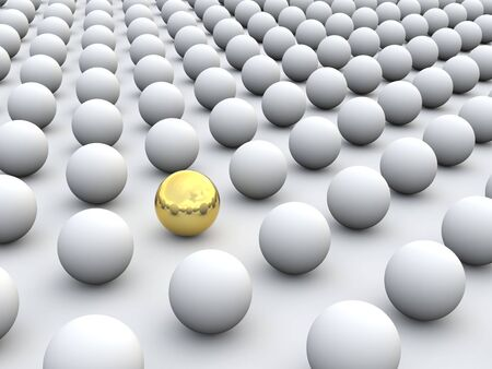 sphere standing: 3D concept rendering depicting individualism and uniqueness, one standing out of the grey crowd as golden sphere Stock Photo