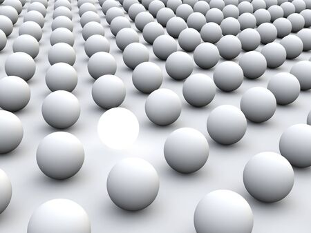 sphere standing: 3D concept rendering depicting individualism and uniqueness, one standing out of the grey crowd as white light sphere
