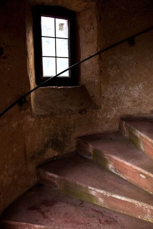 Old Spiral Stairways in Castle at Dilsberg, Germany photo