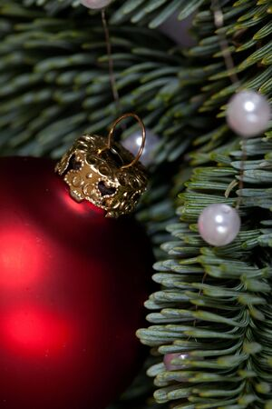 Red Christmas bauble as Advent decoration photo