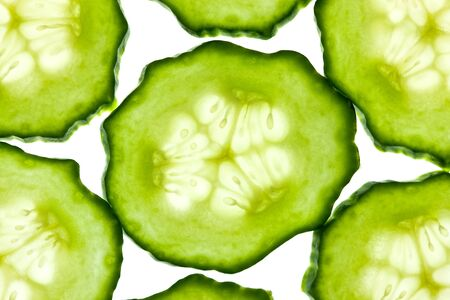 cuke: Cucumber sliced and isolated on white