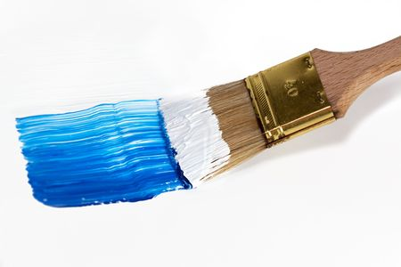 acryl: Brush with Blue and White Acryl Color isolated on white Stock Photo
