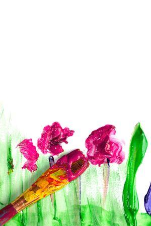 fingerpaint: Child fingerpainting in vivid colors