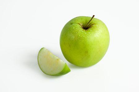 Green Apple isolated on white studio shot photo