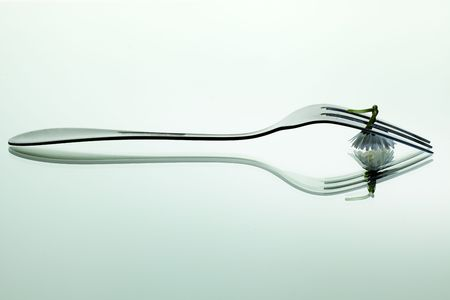 veganism: Steel Forks with daisy flower on shiny mirror surface