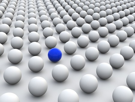 sphere standing: 3D concept rendering depicting individualism and uniqueness, one standing out of the grey crowd as colorful sphere Stock Photo