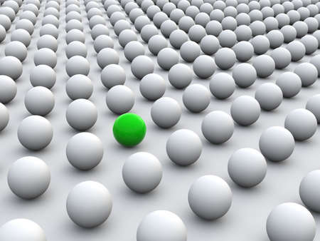 individualism: 3D concept rendering depicting individualism and uniqueness, one standing out of the grey crowd as colorful sphere Stock Photo