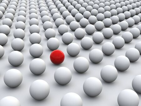 uniformity: 3D concept rendering depicting individualism and uniqueness, one standing out of the grey crowd as colorful sphere Stock Photo