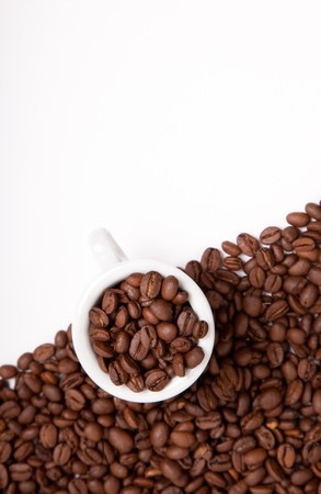 cappuchino: Cappuchino cup with beans on white background