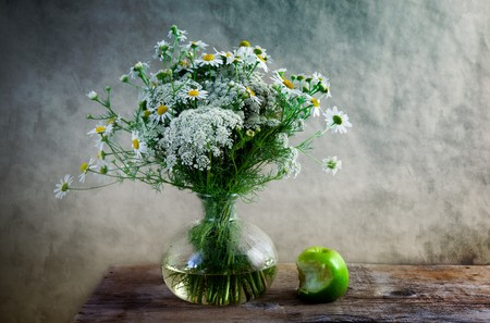 bitten: Still Life with Apple and flowers in vase