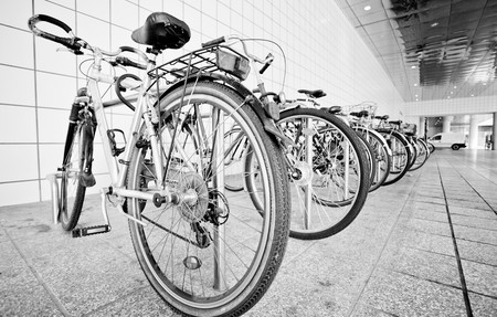 Bike parking area outside a public railway station in germany europe photo