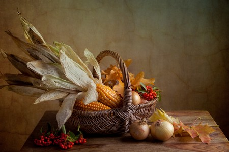 thanksgiving: Still Life Autumn concept image with vegetables and wicker basket Stock Photo