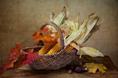 Still Life Autumn concept image with vegetables and wicker basket photo