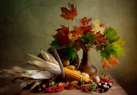 thanksgiving harvest: Still Life Autumn concept image with vegetables and wicker basket Stock Photo