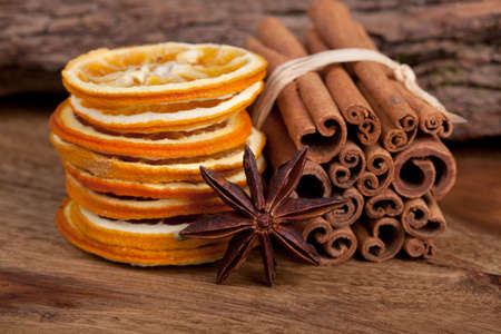 Sliced of dried Orange with cinnamon sticks and Anise Stock Photo - 8212912