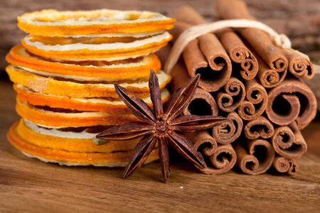 Sliced of dried Orange with cinnamon sticks and Anise Stock Photo - 8212929