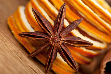 Sliced of dried Orange with cinnamon sticks and Anise Stock Photo - 8212897