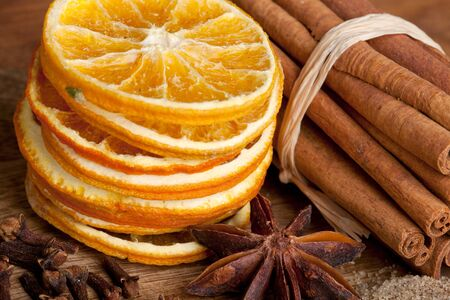 Sliced of dried Orange with cinnamon sticks and Anise Stock Photo - 8213033