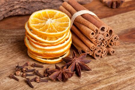 clove: Slices of dried Orange with cinnamon clove and anise
