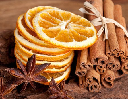 dried spice: Sliced of dried Orange with cinnamon sticks and Anise Stock Photo