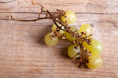 fresh and ripe white grapes on wooden board Stock Photo - 8584351