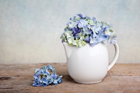 flores color pastel: Bodeg�n con azul Hortensia flores en porcelaine puede Foto de archivo