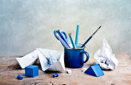 Still-Life with Tools for handicraft work on wooden table Stock Photo