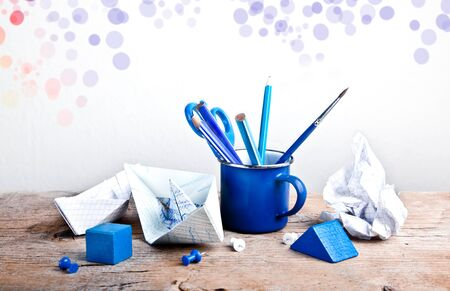 blotched: Still-Life with Tools for handicraft work on wooden table Stock Photo