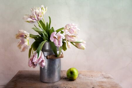 stilllife: Still-Life with blue Pink Tulips in tin can