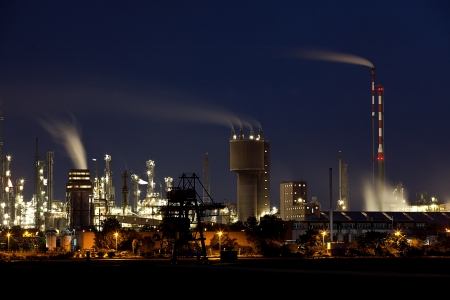 Chemical Factory in Ludwigshafen Germany at night