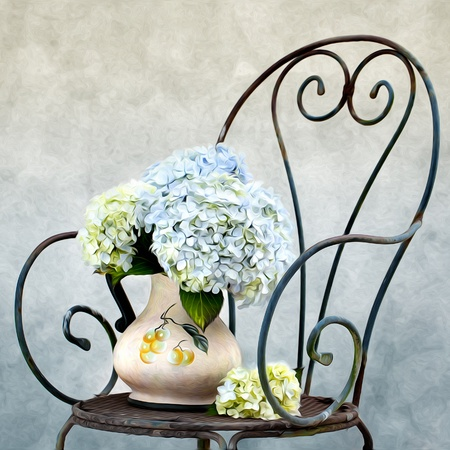 hydrangea flower: Still Life illustration with Hortensia Flowers in Oil Painting Style