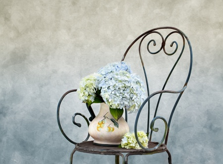 オルテンシア花油絵風と静物画イラスト 写真素材