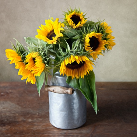 Still Life Illustration with Sunflowers in Oil Painting Style Stock Photo