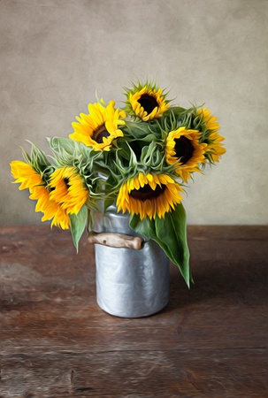 oil can: Still Life Illustration with Sunflowers in Oil Painting Style Stock Photo