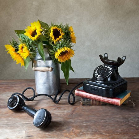 antique telephone: Still Life Illustration with Sunflowers and antique black Telephone in Oil Painting Style