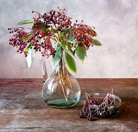熟した長老果実と秋のまだ生命絵画