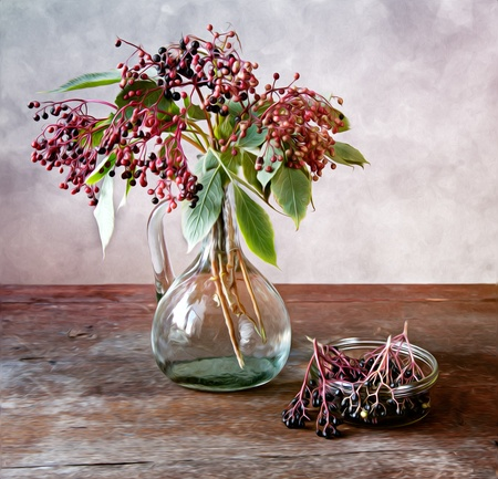 Autumn Still-Life Painting with ripe Elder Berries