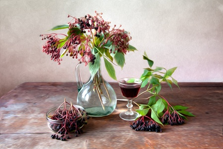 stilllife: Autumn Still-Life Painting with ripe Elder Berries
