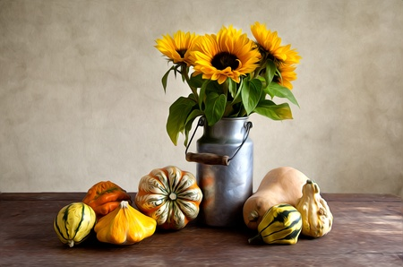 fruit and veg: Autumn Still-Life Illustration with different shaped and colored pumpkins