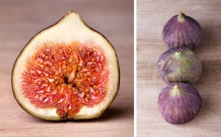 progeny: Fresh fig fruits arranged on wooden table
