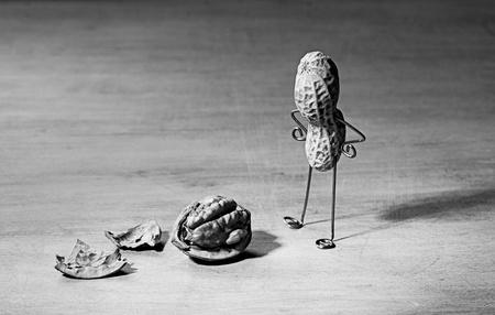 gente loca: El hombre en miniatura con cerebro de man� y nuez Foto de archivo