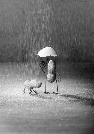 walking in the rain: Miniature with Peanut Man and Dog under umbrella