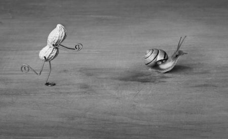 tinkered: Miniature with Peanut Man trying to catch a Snail Stock Photo