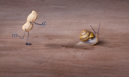 midget: Miniature with Peanut Man trying to catch a Snail Stock Photo
