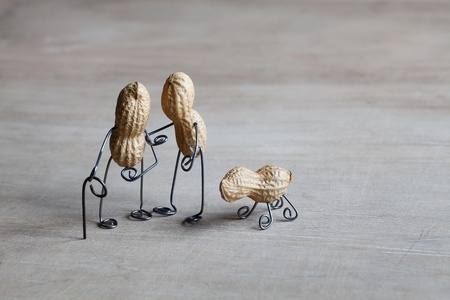 bent: Miniature with old couple walking together Stock Photo