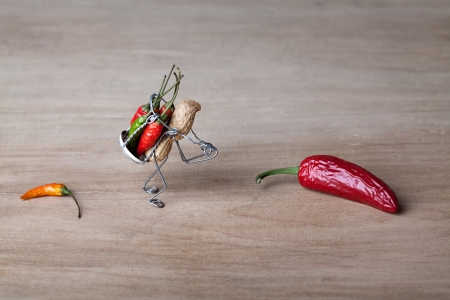 Miniature with peanut worker carrying red and green chili peppers photo