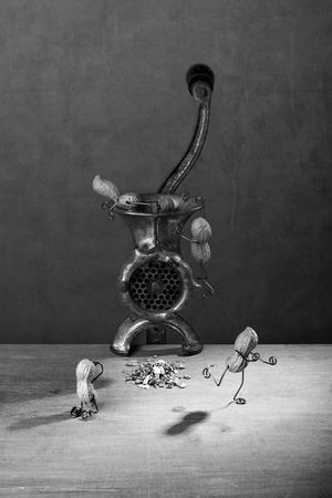 tinkered: Miniature with Peanut People fighting against being put down a mincer Stock Photo