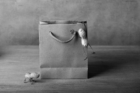 tinkered: Miniature with Peanut People Climbing into Shopping bag