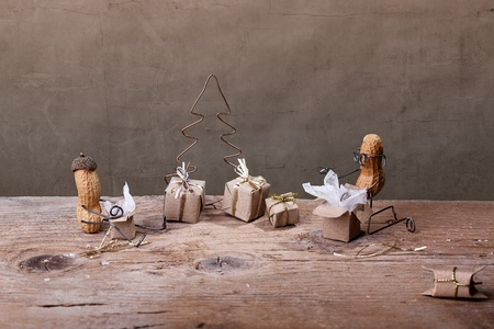 Miniature with Peanut People on Christmas unpacking their presents Stock Photo - 11888824